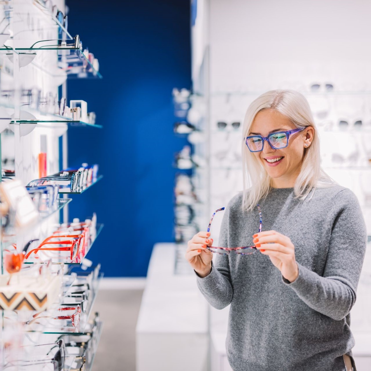 Woman Trying on Glasses
